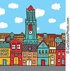 町, 古い, 漫画