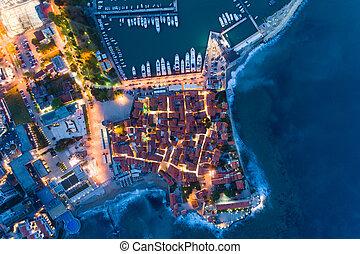 町, 古い, budva, 夜, 空中写真
