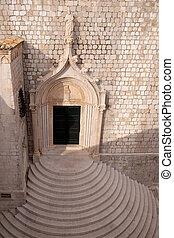 町, 古い, dubrovnik, ドア, croatia, 教会