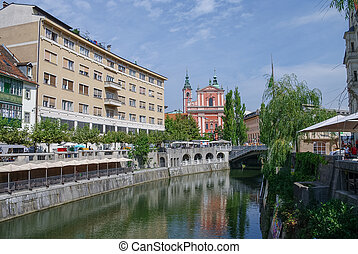 町, 古い, franciscan, スロベニア, 堤防, 教会, ljubljana, annunciation.