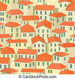 町, 古い, seamless, 屋根, 赤