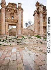 町, 古代, artemis, jerash, ステップ, 門, 寺院