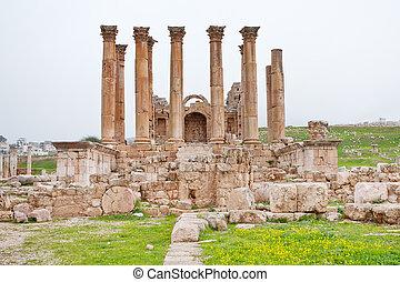 町, 古代, corinthium, jerash, artemis, 寺院, コロネド