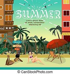 町, 夏, hotels., 概念, スペース, ベクトル, text., 休暇, sunbath, トロピカル, リゾート, ビキニ, 浜。, 平ら, イラスト, 背景, 浜, 漫画, 女性