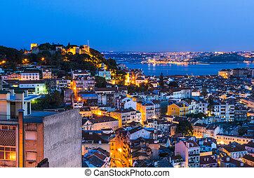 町, 夜, 古い, ポルトガル, リスボン