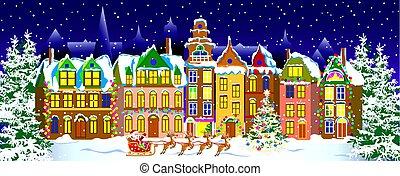 町, 夜, 古い, 冬