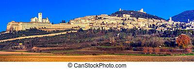 町, 宗教, assisi, イタリア, 中世, -, umbria, パノラマ, 中心