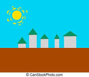 町, -, 定型, ベクトル, 小さい, illust