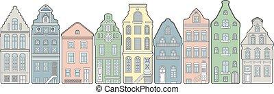 町, 家, 通り, 古い
