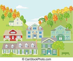 町, -, 小さい, ベクトル, イラスト, 風景, 山