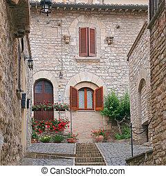 町, 小さい, assisi, umbria, イタリア