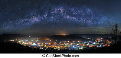 町, 山, 夜