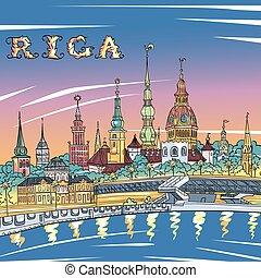 町, 川, ラトビア, 古い, 夜, daugava, riga