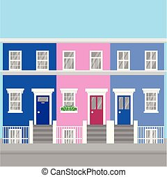 町, 平ら, 合併した, イギリス\, カラフルである, 旅行, 家, 丘, notting, 建築, landmark...