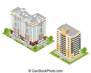 町, 平ら, 等大, illustration., 建物, ベクトル, 3d