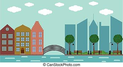 町, 建物, 古い, 現代, 公園, 背景, ヨーロッパ