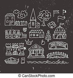 町, 建物, 古い, sketched