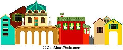 町, 建物, illustration., カラフルである, パノラマである, ベクトル, 小さい, ビュー。
