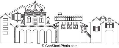 町, 建物。, silhouette., 小さい, ベクトル, 都市の景観, 輪郭