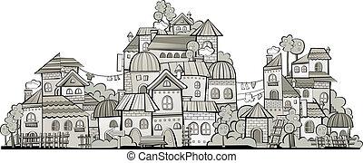 町, 建設, grayscale, 漫画, ベクトル