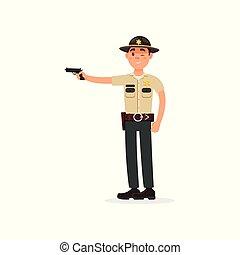 町, 役人, 警察, 保安官, 発砲, 特徴, 銃, イラスト, ユニフォーム, ベクトル, 士官, 背景, 白い男性