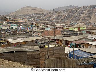 町, 掘っ建て小屋, リマ, アメリカ, 南, ペルー