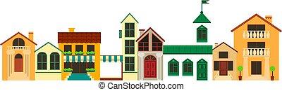 町, 景色。, 古い, illustration., カラフルである, 家, ベクトル, ヨーロッパ