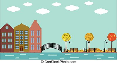 町, 橋, 古い, 公園, 秋, 川, ヨーロッパ