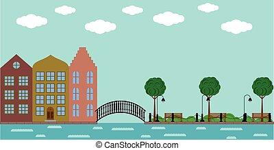 町, 橋, 古い, 夏, 公園, 川, ヨーロッパ
