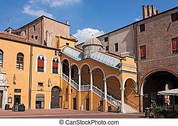 町 正方形, イタリア, ferrara, ホール