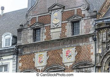 町 正方形, 中央である, モンス, belgium., ホール