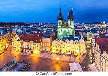 町 正方形, 古い, チェコ, プラハ, 共和国