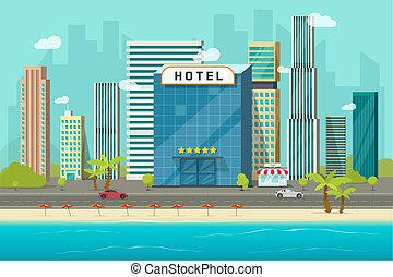 町, 浜, 風景, 超高層ビル, 平ら, パノラマ, ホテル, 建物, ベクトル, 海洋, リゾート, ∥あるいは∥, 通り, 光景, 海, 大きい, 都市の景観, 壷, 漫画, 道, イラスト