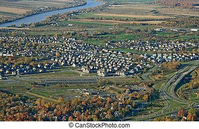町, 航空写真, ハイウェー, 光景