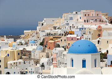 町, 航空写真, 島, 上に, oia, santorini, ギリシャ, 光景