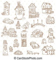 町, 要素, -, ベクトル, デザイン, スクラップブック, 小さい, doodles