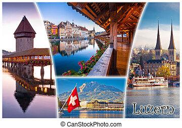 町, 観光客, 葉書, ランドマーク, ラベル, luzern, スイス人, ルツェルン, ∥あるいは∥, 光景