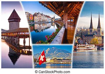 町, 観光客, 葉書, ランドマーク, luzern, スイス人, ルツェルン, ∥あるいは∥, 光景