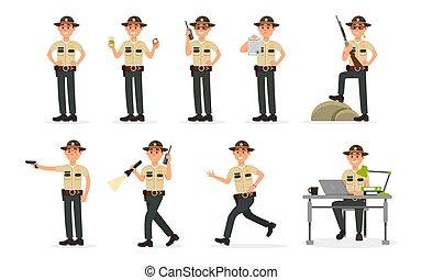町, 警察, 保安官, 警官, 市民, ユニフォーム, 役人, 特徴, イラスト, 実行, ベクトル, 士官, 背景, 白い男性, 判断