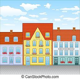 町, 通り, 古い