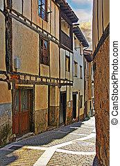 町, 通り, leon, 小さい, カスティリャ, スペイン, 典型的