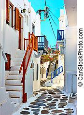町, 通り, mykonos