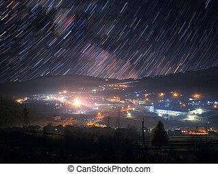 町, 道, 上に, 星, 山
