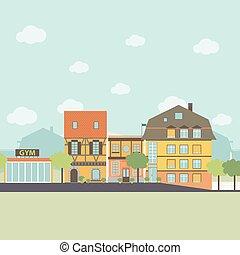 町, 都会生活, elements., 平ら, イラスト, infographic, ベクトル, デザイン, 小さい, style.
