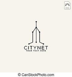 町, 都市, ネットワーク, イラスト, 接続, ベクトル, テンプレート, ロゴ, ∥あるいは∥