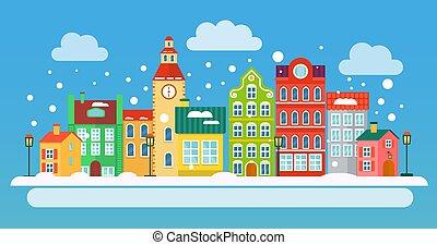 町, 都市, 冬, 平ら, concept., ベクトル, 小さい, style., 風景, illustration.