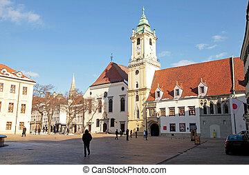 町, 都市, 古い, bratislava, スロバキア, ホール