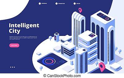 町, 都市, 等大, オフィス, 都市, concept., デジタル, 着陸, 超高層ビル, ベクトル, 事実上, 革新, 痛みなさい, 未来, ページ, 道, 3d