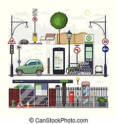 町, 都市, 等大, セット, より軽い, 都市, downcity, ベクトル, 止まれ, 隔離された, イラスト, 通り, 交通, 道, 背景, バス, 都市の景観, 白, 輸送, 自動車