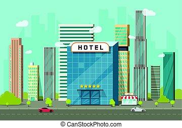 町, 都市, 風景, 建物, clipart, 平ら, パノラマ, ホテル, ベクトル, 通り, 光景, 超高層ビル, 大きい, 都市の景観, 壷, 漫画, 道, イラスト